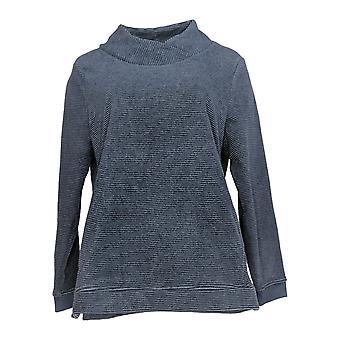 Denim & Co. Women's Top Chenille Fleece Tunic Crossover Neck Blue A371644