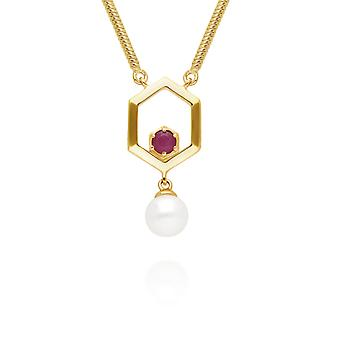 Modern Pearl & Ruby Hexagon Drop Necklace in Gold Plated Sterling Silver 270N035802925