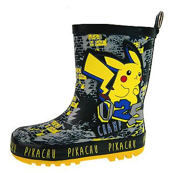 Pokemon Pikachu Champ Urban Design Slip On Wellington Boots UK Sizes Child 8-2