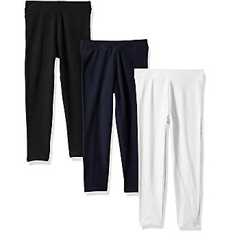 Essentials Little Girls' 3-Pack Leggings, Black/White/Navy Blazer, S (...