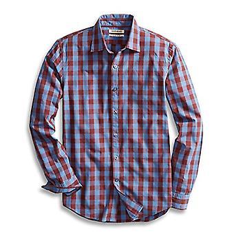 Goodthreads Män & apos; s Slim-Fit långärmad Gingham Plaid Poplin Shirt, Blå / Burgu ...