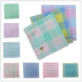 Retro Polyester Cotton Plaid Light Color Ladies Handkerchief 29*29cm