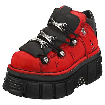New Rock Half Boot Tower Unisex Platform Shoes in Red Black