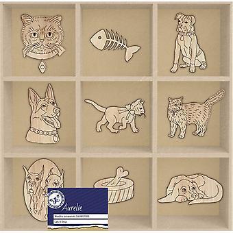 Aurelie Katter & Hundar Trä ornament