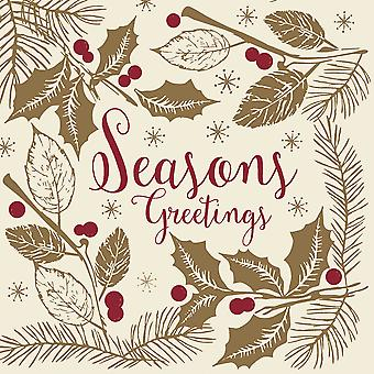 Swantex Seasons Greetings Christmas Napkins 3 Ply 40cm