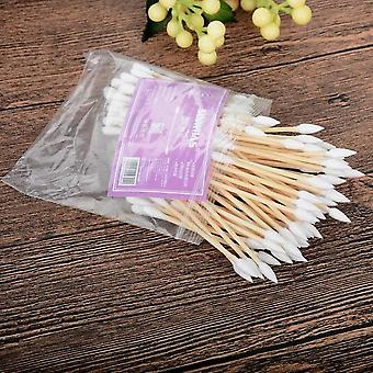 100pcs Double Head - Cotton Swab & Buds Women Makeup Tip For Medical Wood Sticks Nose Ears Cleaning Tools
