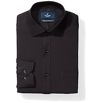 BUTTONED DOWN Men's Tailored Fit Stretch Poplin Non-Iron Dress Shirt, Black, ...