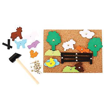 Bigjigs Dřevěná pin-a-tvar farmy