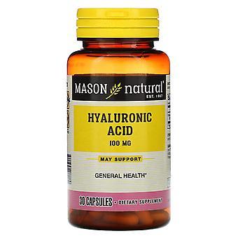Mason Natural, Hyaluronic Acid, 100 mg, 30 Capsules
