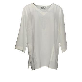 Linea por Louis Dell'Olio Women's Plus Crepe V-Neck Tunic White A349646