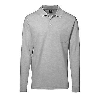 ID Mens Pro Wear Pocket Long Sleeve Regular Fitting Polo Shirt