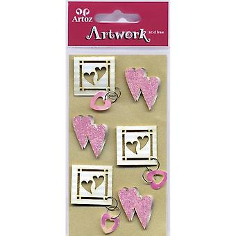 Pink Hearts Craft Embellishment By Artoz