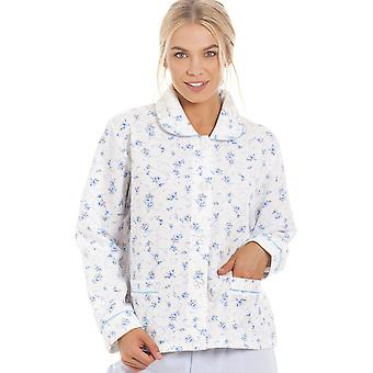 Camille Womens Blue Rose Embossed Quilted Bed Jacket