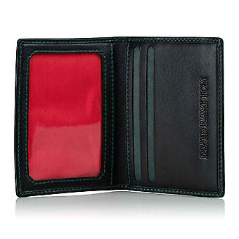 Green Label Luxury Black Leather Travel Card Holder