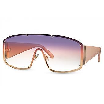 نظارات شمسية درع المرأة كامل حافة القط. 3 ذهبي/ وردي