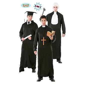 Sistema del estudiante sacerdote juez traje hombre negro carnaval carnaval