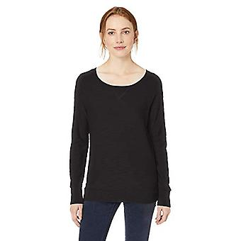 Brand - Daily Ritual Women's Lightweight Open-Crewneck Raglan Pullover Sweater, Black,Large