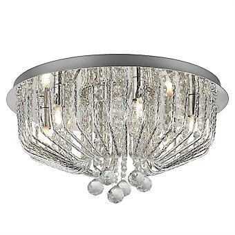 6 Luz Flush Ceiling Light Chrome, Cristal Glass, G9
