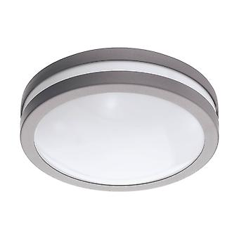 LED Outdoor Flush Ceiling / Wall Light Silver IP44