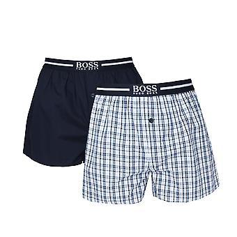 BOSS Bodywear 2 Pack Navy Check Woven Boxer Shorts