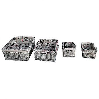 Rebecca meubelen set 4 stuks recycle bin Box Wicker stof shabby object order objecten kamer