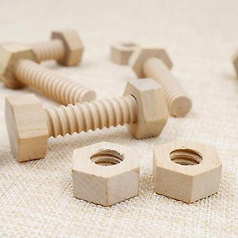 Screw-nut Assembling Wooden-toy, Solid-wood Screw-nut Hands-on Teaching-aid