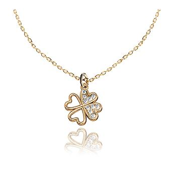 Ah! Jewellery Lucky Clover Pendant with Clear Crystals From Swarovski