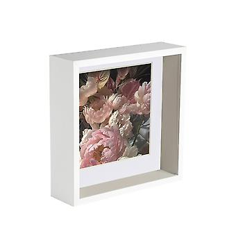 Nicola Spring 2 Piece 6 x 6 3D Shadow Deep Box Photo Frame Set - Craft Display Picture Frame - Biały
