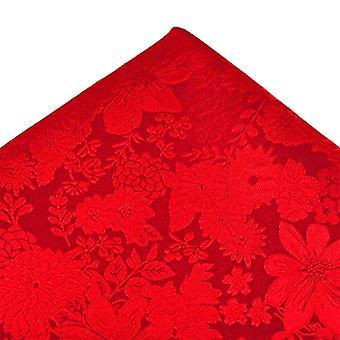 タイズ プラネット ゴールド ラベル 赤い自己の花パターンシルク ポケット スクエア ハンカチ