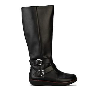 Women's Fit Flop Noemi Double Buckle Knee High Boots in Black
