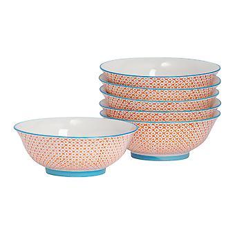 Nicola Spring 6 Piece Hand-Printed Ramen Noodle Bowl Set - Japanese Style Porcelain - Orange - 21.5cm