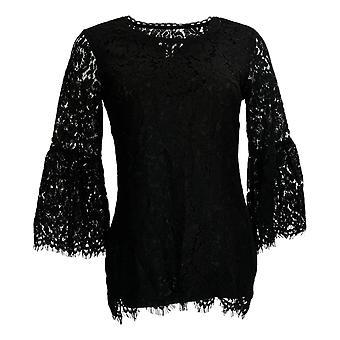 Isaac Mizrahi Live! Women's Top (XXS) Lace 3/4 Bell Sleeve Zwart A306931