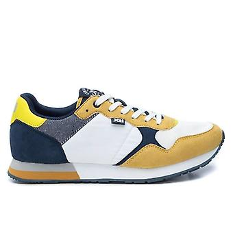 Xti herensneakers in geel blauw wit stof