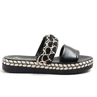 Black Leather Slipper With Decorations and Fabric