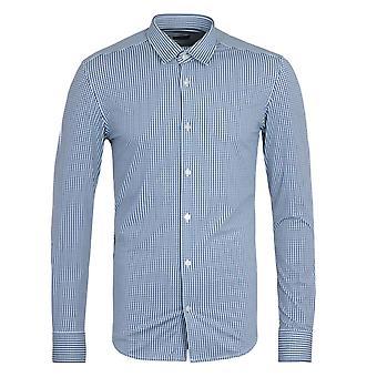 BOSS Ronni impresión navy Stretch Performance Slim Fit Camisa