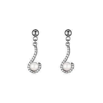 Sølv øredobber og hvite avling perler og zirkoniumoksider - Pearl Spiral- apos;