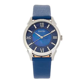 Bertha Ida Mother-of-Pearl Leather-Band Watch - Blue