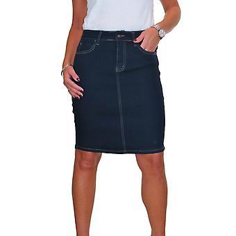 Frauen's Stretch über Knie Denim Bleistift rock Enden Damen Smart Casual bequem ausgestattet Bodycon Jeans Rock Smooth Wash 10-20