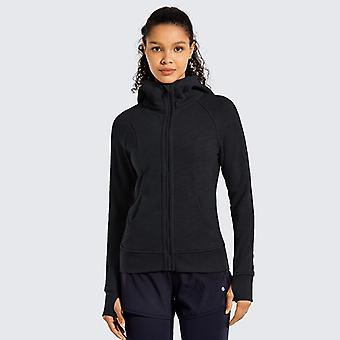 Women's Cotton Hoodies, Sport workout med full zip, Thumb Holes Sweatshirt