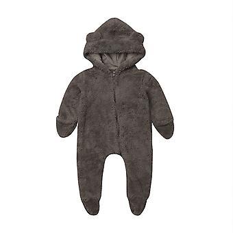 Neugeborenen Baby Winter Langarm Solide Farbe weiche warme Fuzzy KapuzenStrampler