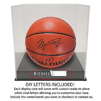 OnDisplay Deluxe Personalized UV-Protected Basketball/Soccer Ball Display Case - Black Base