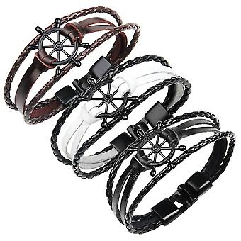 Punk Alloy Rudder Bracelet Cowhide Leather Bangle Wristband Men Jewelry
