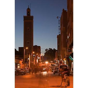 Mezquita de la ciudad de Er Rachidia y Rue Mesjia el Ziz río Valle Marruecos cartel grabado por Walter Bibikow