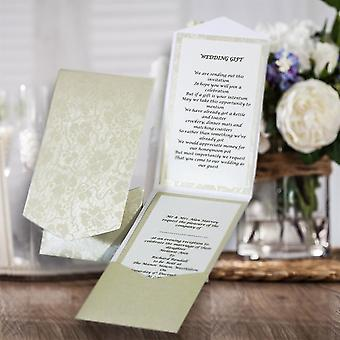 10 HAKANA Ivory (Off White) Broderie Portrait Pocketfold Invitations