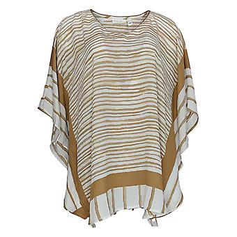 Susan Graver Women's Top Striped V-Neck Scarf Design A376590