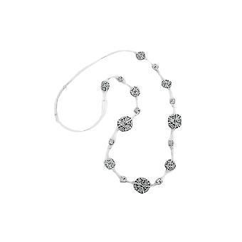 halskjede blomst perle grå-hvit 100cm