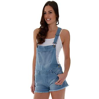 Ladies denim dungaree shorts - light wash