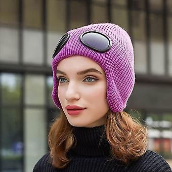 New Fashion Unisex Winter Hat Warm Women Pilot Black Ear Flap With Glasses Muff