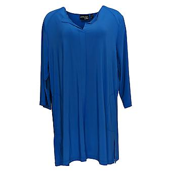 Attitudes By Renee Women's Top Collarless Tunic W/ Pockets Blue A301309