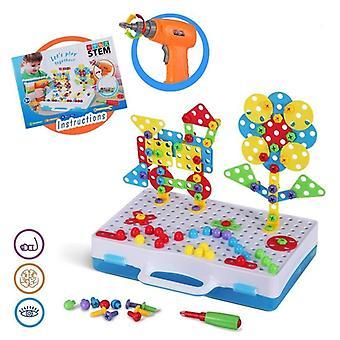 Elektrisk boremaskine og skruer Mosaik Bygge Puslespil - 3d Diy puslespil foregive værktøjer legetøj